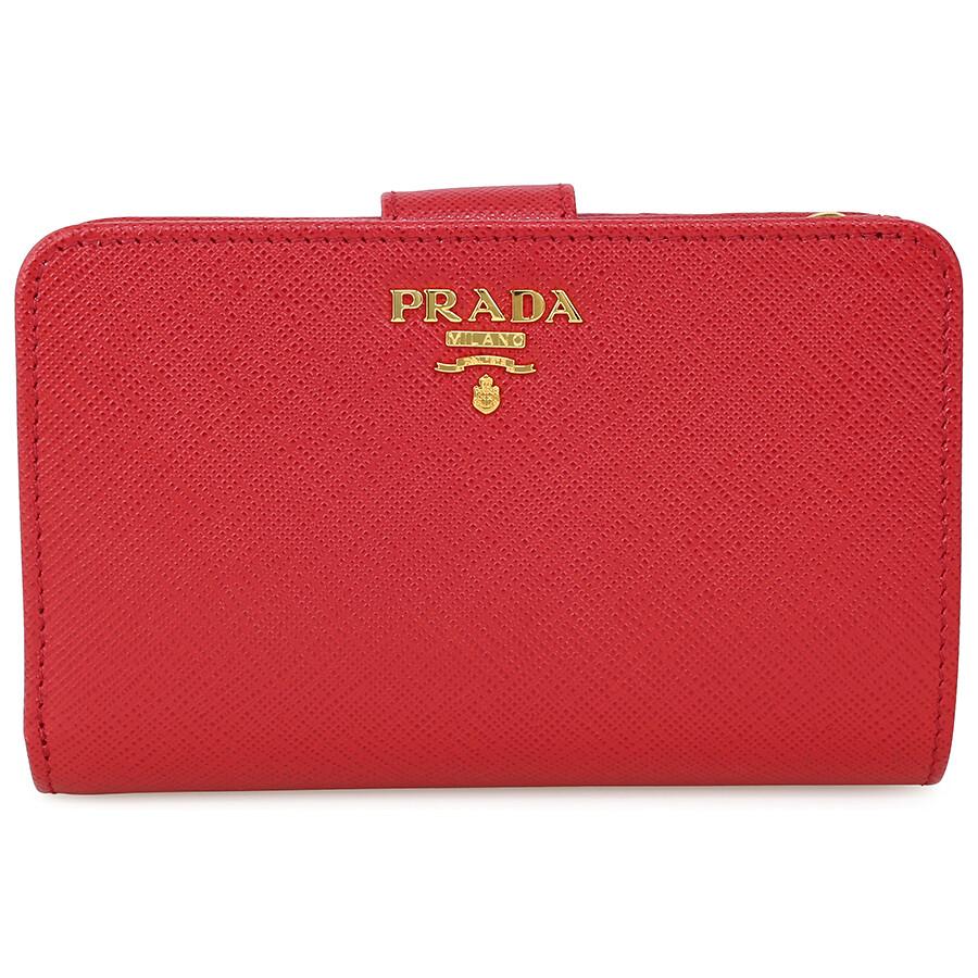 50b3e4f407b Prada Bi-fold Zip Saffiano Leather Wallet - Fuoco