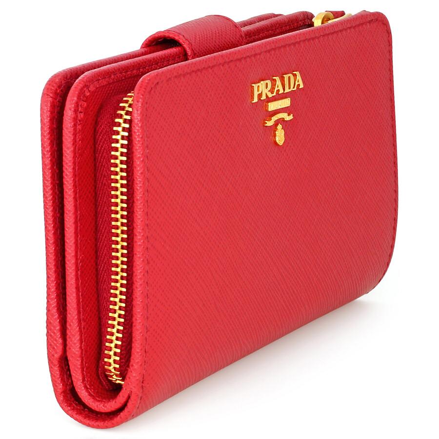 e9e8b12f3054 Prada Bi-fold Zip Saffiano Leather Wallet - Fuoco - Prada - Handbags ...