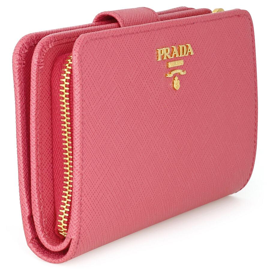 9ebf7922da7a Prada Bi-fold Zip Saffiano Leather Wallet - Peonia - Prada ...