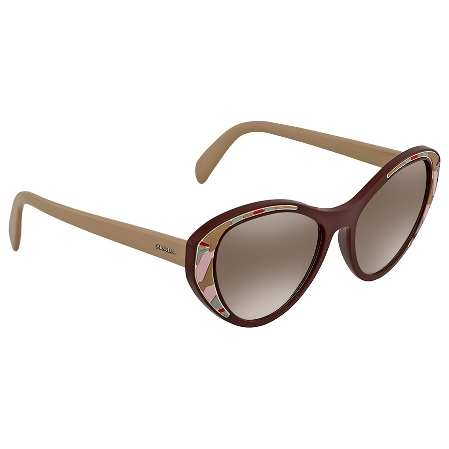 63ab31e8bf Prada Brown Gradient Silver Mirror Cat Eye Ladies Sunglasses PR 14US LJ84O0  55 ...