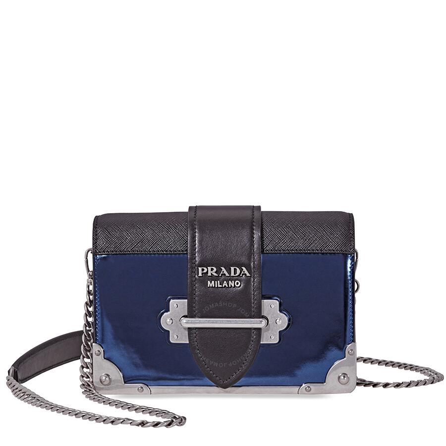 47e3ab93eec4eb Prada Cahier Leather Crossbody - Blue/Black Item No. 1BH018_2B1E_F0EKP_V_WCH