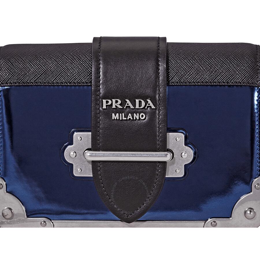 9b72b168b87a Prada Cahier Leather Crossbody - Blue/Black - Cahier - Prada ...