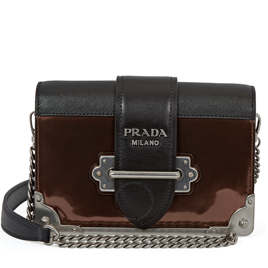 Prada Cahier Leather Crossbody Bag- Black Brown Item No.  1BH018 F0N52 2B1E V WCH 279e89584bc4c
