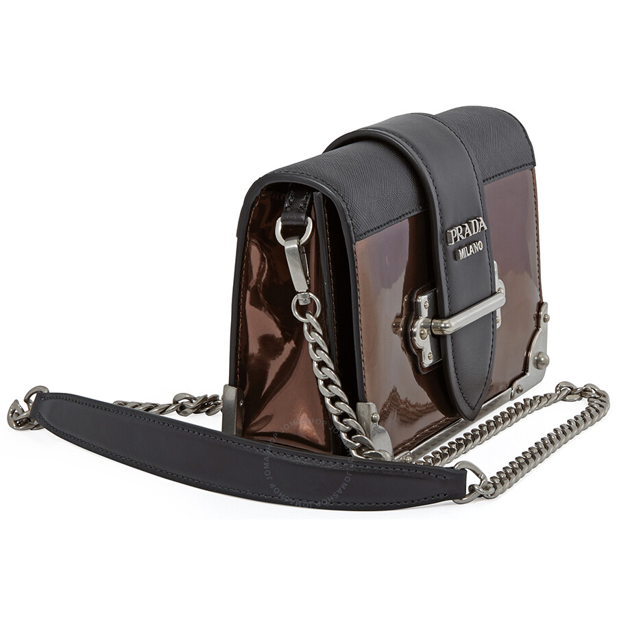 8dd4a5baa961 Prada Cahier Leather Crossbody Bag- Black Brown - Cahier - Prada ...
