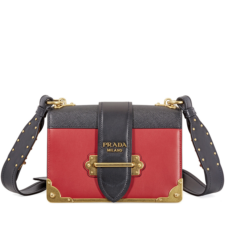 Prada Cahier Leather Shoulder Bag - Black and Red