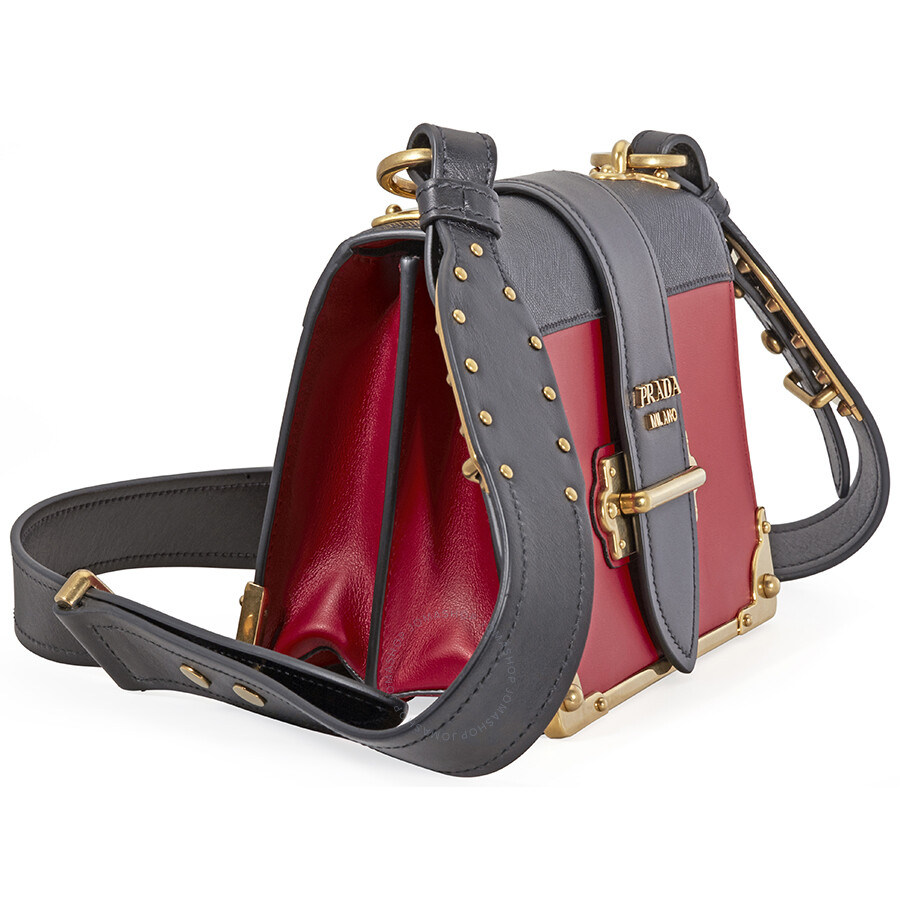 f470fabb7421 Prada Cahier Leather Shoulder Bag - Black and Red - Prada - Handbags ...