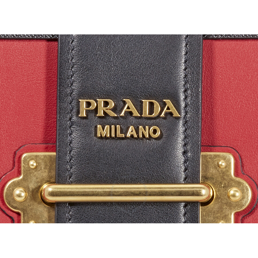 83dbd2ae90cee0 Prada Cahier Leather Shoulder Bag - Black and Red - Prada - Handbags ...