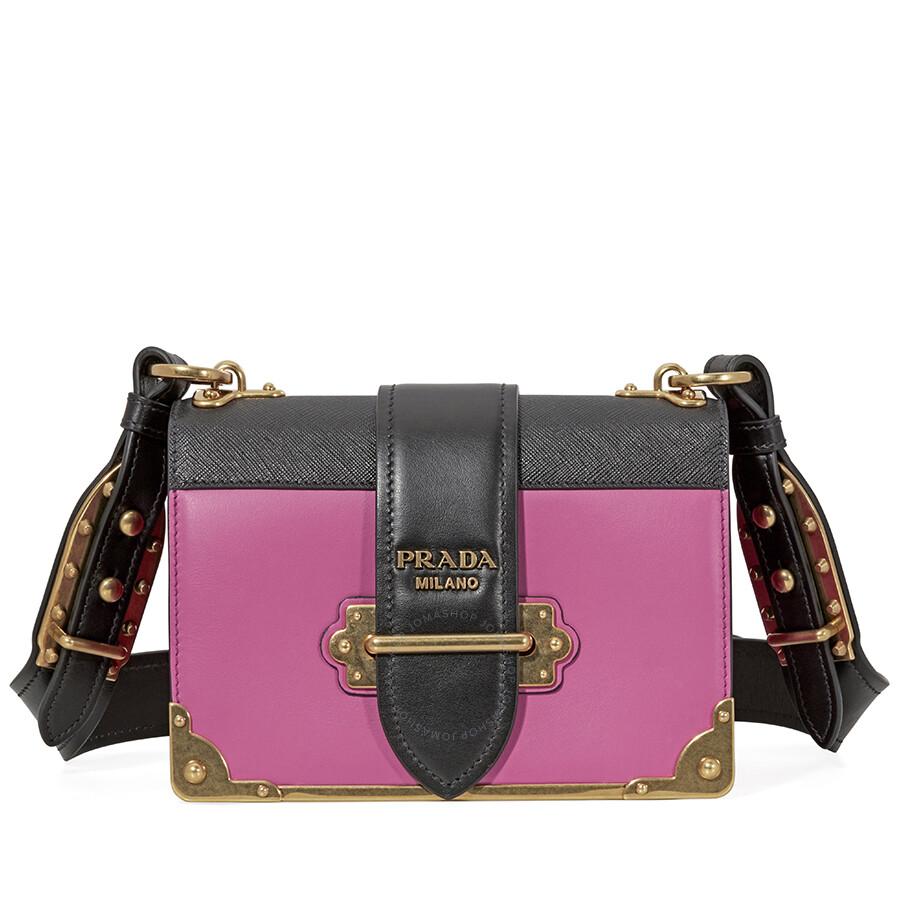 ad555caaa763 Prada Cahier Leather Shoulder Bag - Fuchsia and Black Item No.  1BD045_2BB0_F0AJ6_V