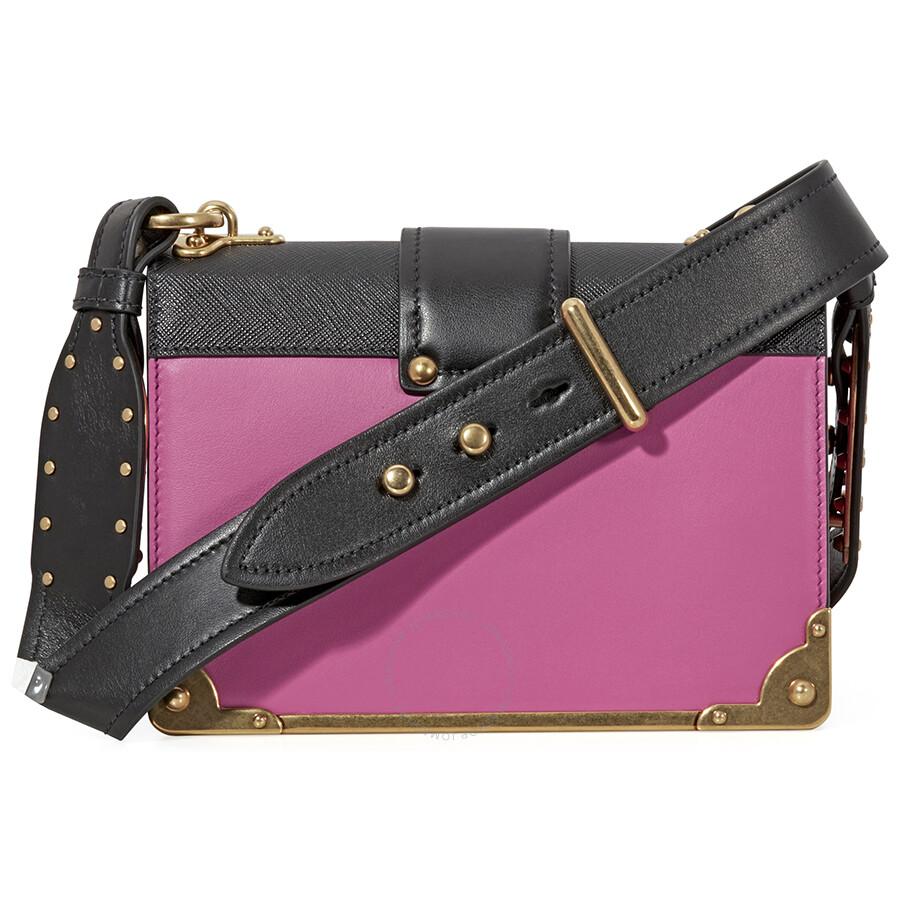 4f6a4fd18ae7 Prada Cahier Leather Shoulder Bag - Fuchsia and Black - Prada ...