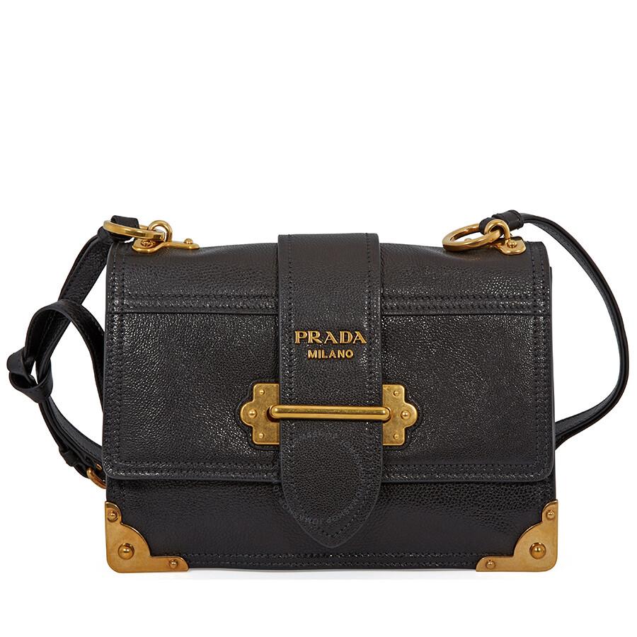 a5b14f47d43e Prada Cahier Calf Leather Crossbody - Black Item No. 1BD094SCHPEO/D F0OK0