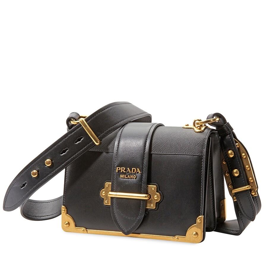 531e7bec5d97 Prada Cahier Small Calf Leather Crossbody - Black - Cahier - Prada ...