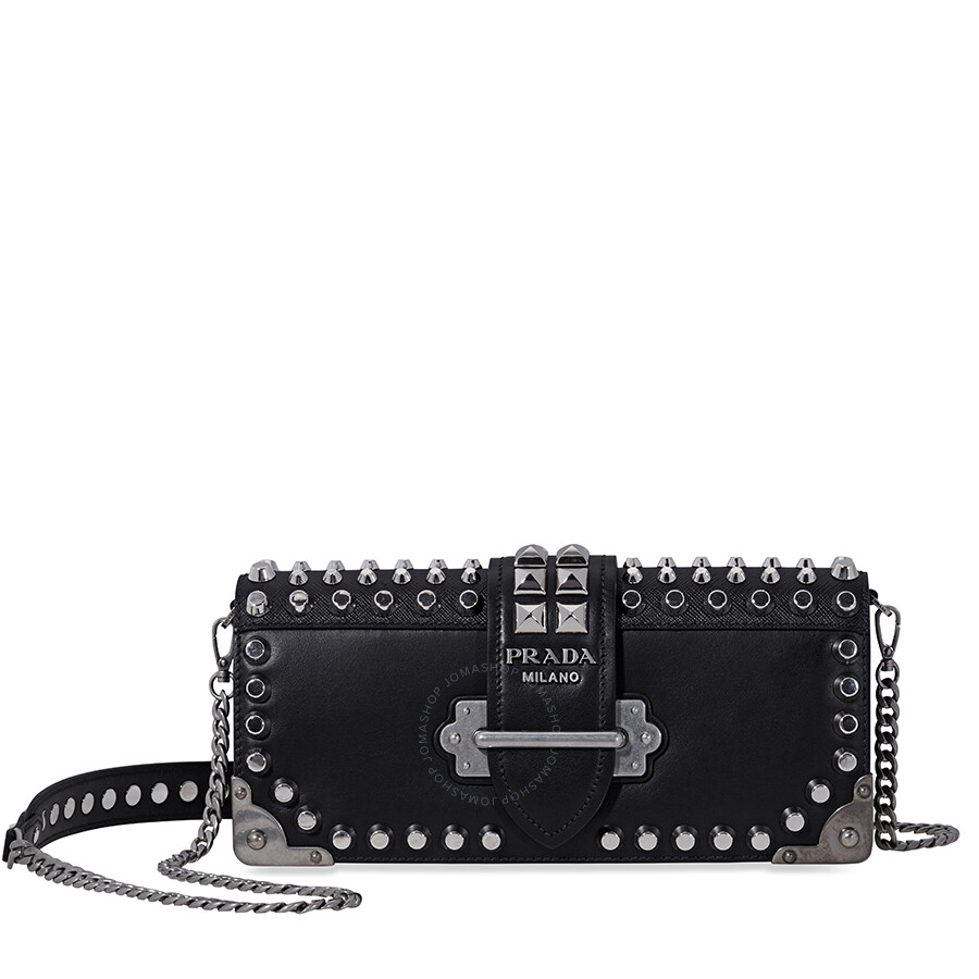 def04bd80e8f Prada Cahier Studded Leather Clutch- Black/ Silver Item No.  1BF048_F0002_2BB0_V_CNH