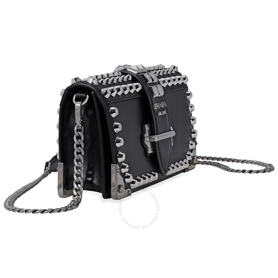 a5cdfee3803c Prada Cahier Studded Leather Clutch- Black/ Silver - Cahier - Prada ...