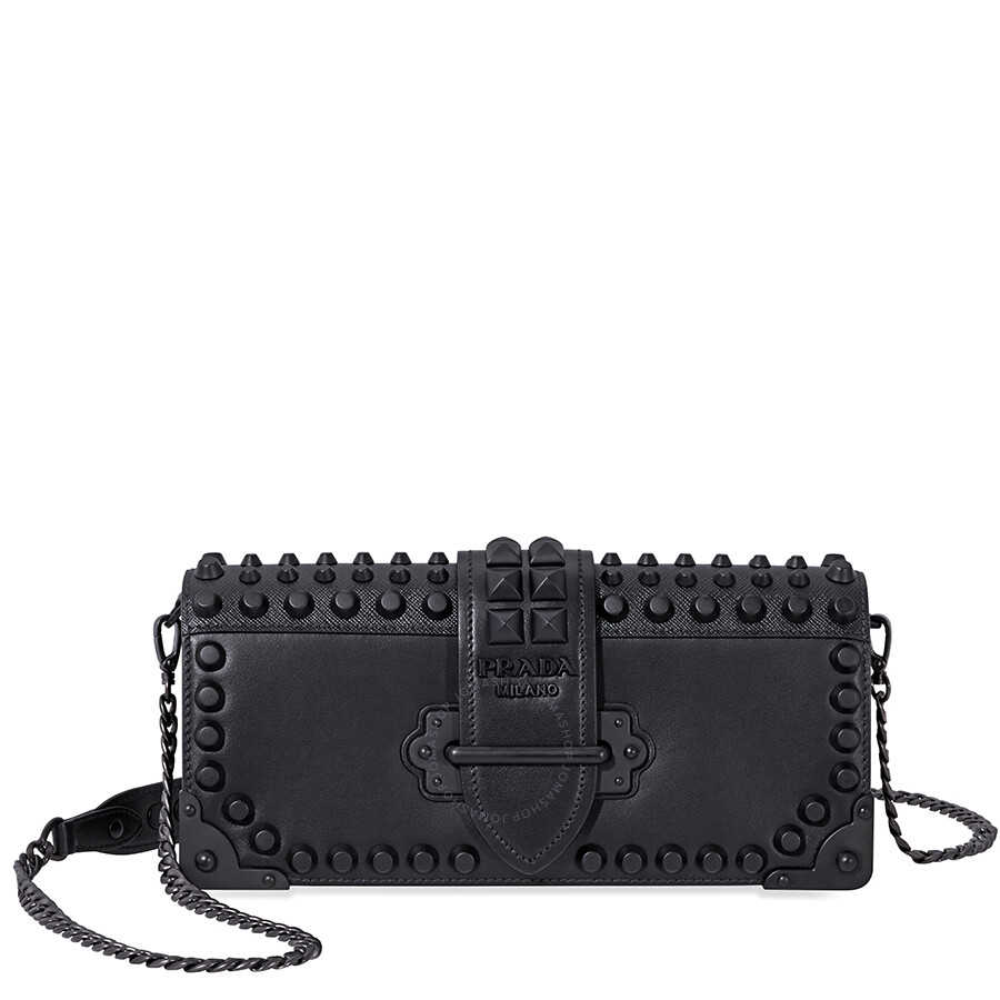 8d8e1f7db89a Prada Cahier Studded Leather Clutch- Black Item No. 1BF048_F0632_2BB0_V_CNH