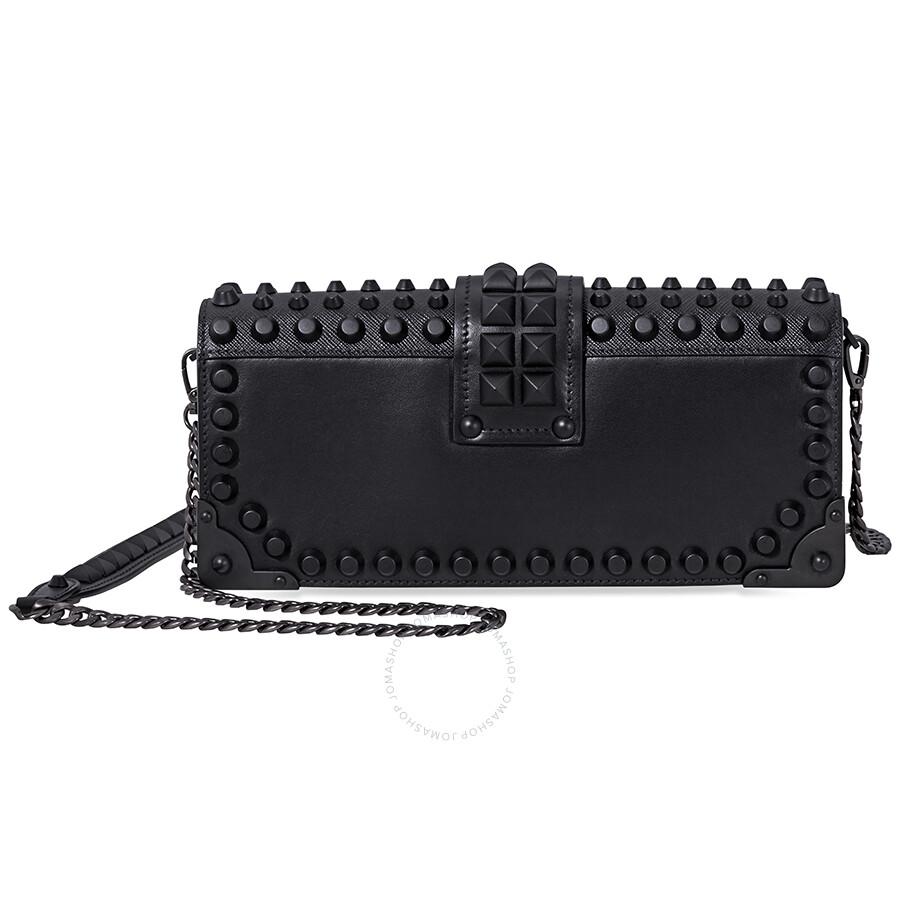 c53a2449c59c Prada Cahier Studded Leather Clutch- Black - Cahier - Prada ...