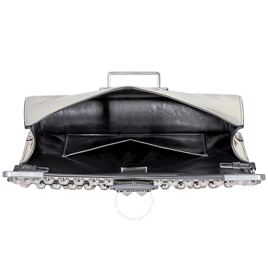 Prada Cahier Studded Leather Clutch- Pyrite Black - Prada - Handbags ... 02a348770aaf2