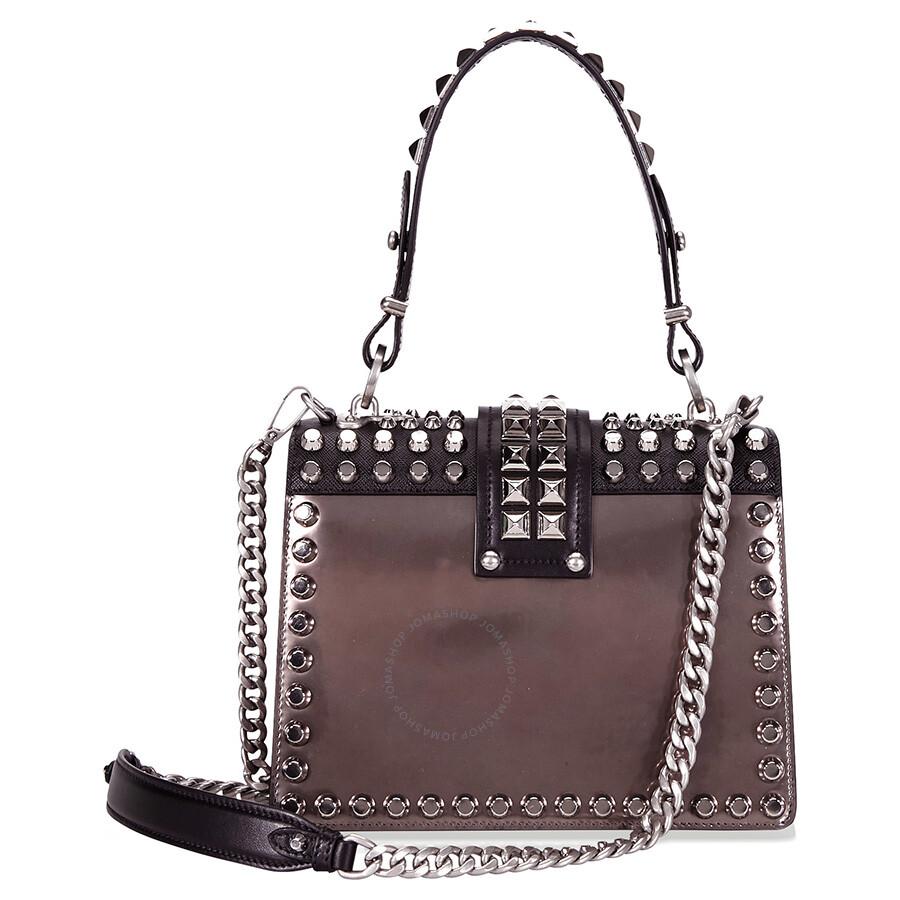 93ef2539f33f Prada Cahier Studded Leather Crossbody Bag - Prada - Handbags - Jomashop