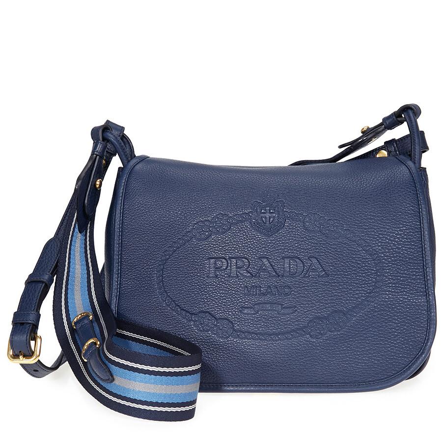 89d2b8052a4a ... sweden prada calfskin leather shoulder bag blue c33b3 7d112