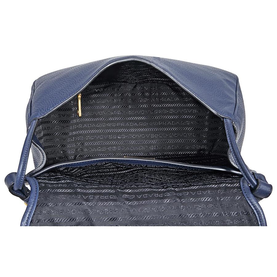 66bc95573702 Prada Calfskin Leather Shoulder Bag- Blue - Prada - Handbags - Jomashop