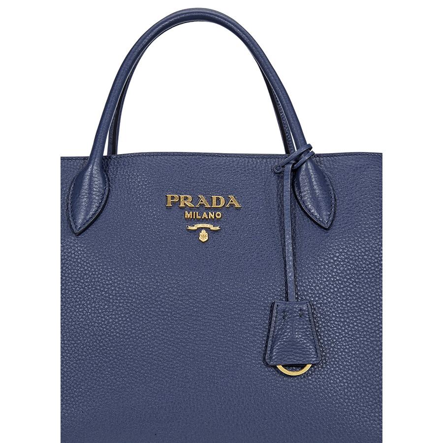d6f8054ab7 Prada Calfskin Leather Tote - Blue - Prada - Handbags - Jomashop