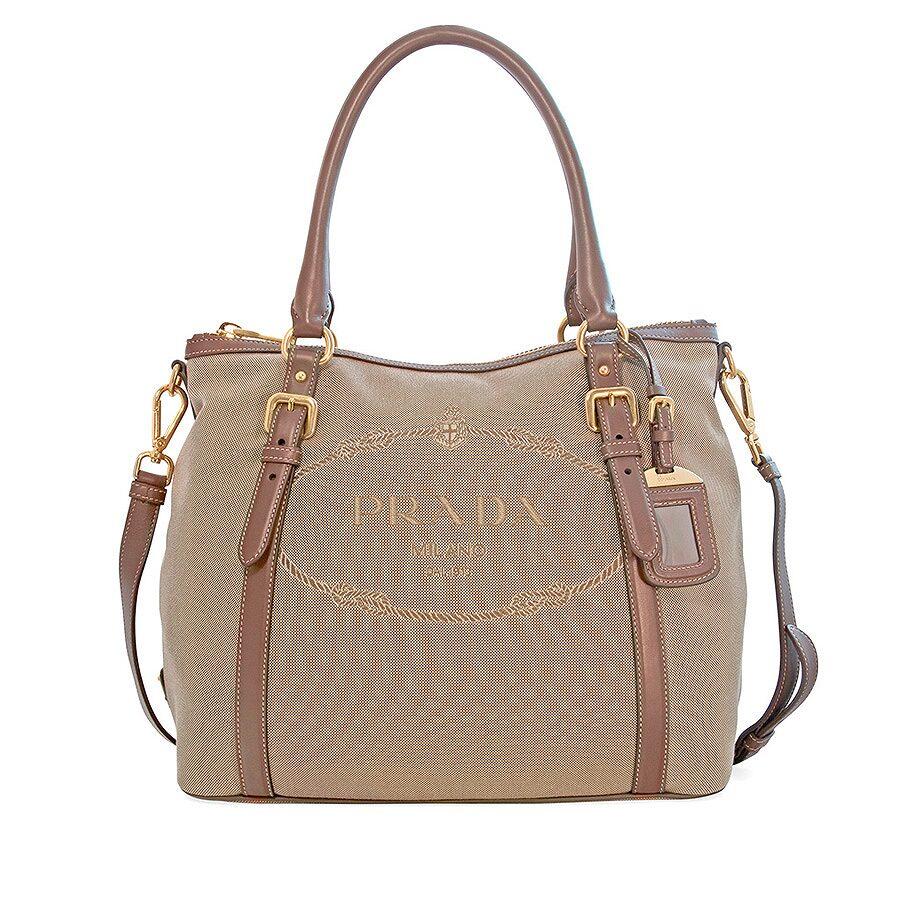 Prada Canvas and Soft Leather Shoulder Bag