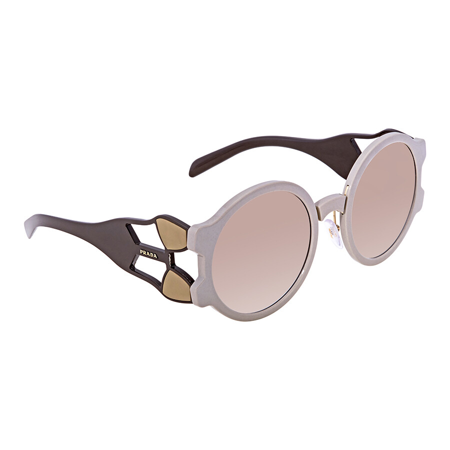 29604a9447b Prada Clear Gradient Brown Oval Ladies Sunglasses 0PR 13US LJ71L0 54 ...