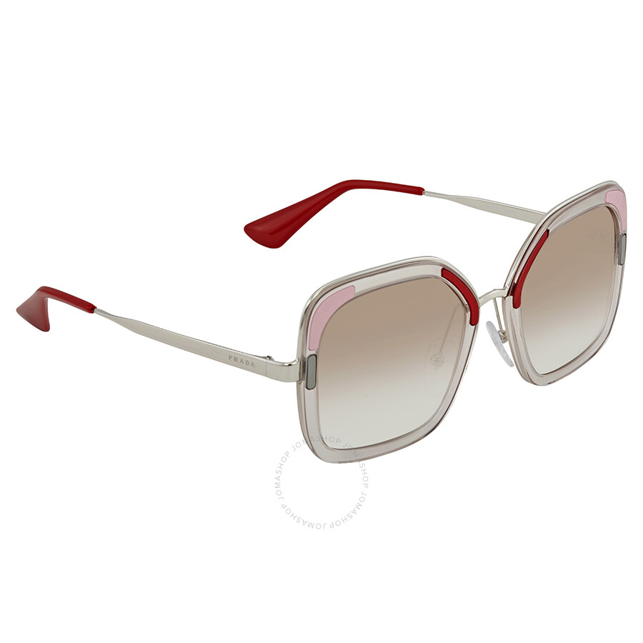 63c8c7385f1 Prada Clear Gradient Brown Square Ladies Sunglasses PR 57US LOH1L0 54 ...