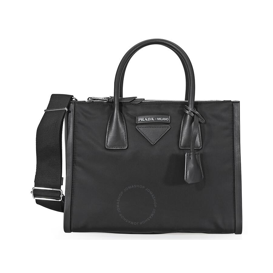 b276996136167 Prada Concept Calf Leather and Fabric Shoulder Bag- Black - Prada ...