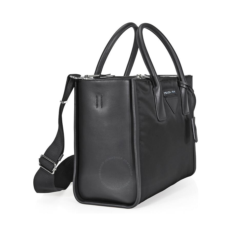 54cedfcee78d51 Prada Concept Calf Leather and Fabric Shoulder Bag- Black - Prada ...