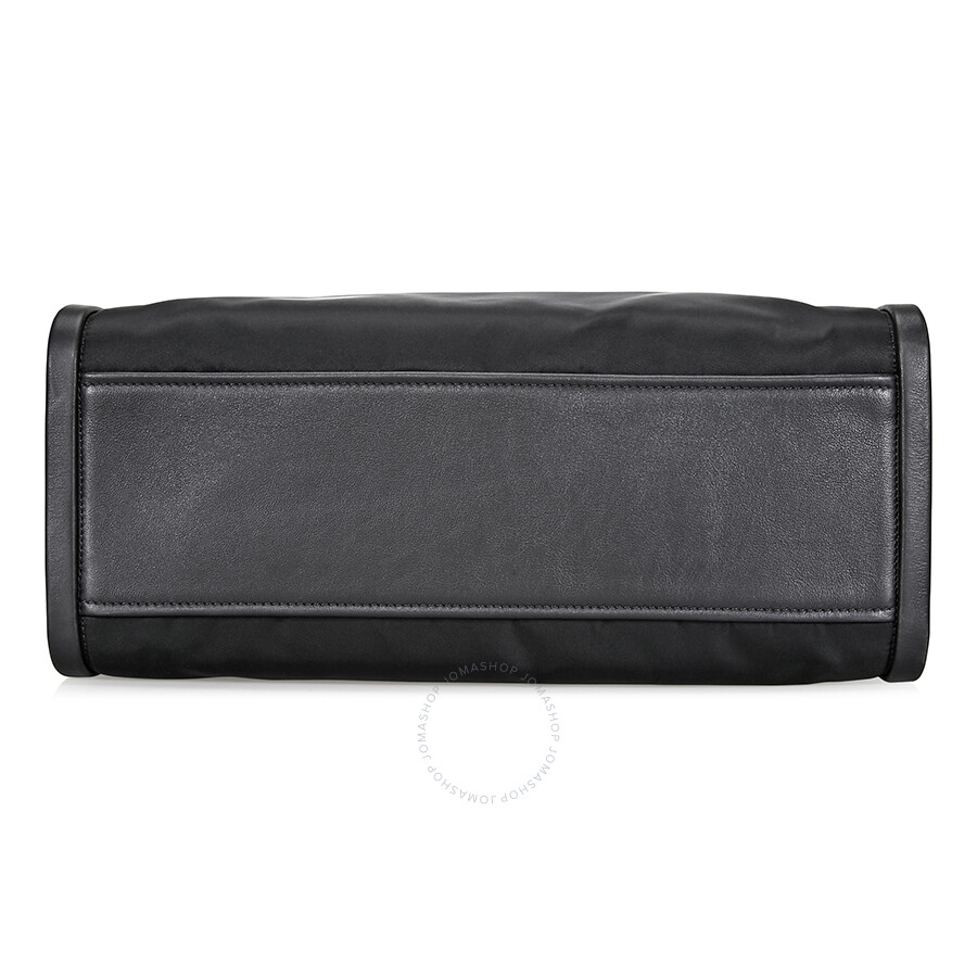Prada Concept Calf Leather and Fabric Shoulder Bag- Black - Prada ... 253bfb31d6
