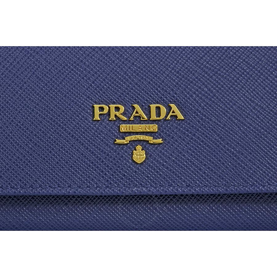 49df459cf1c7 Prada Continental Saffiano Leather Wallet - Bluette - Prada ...