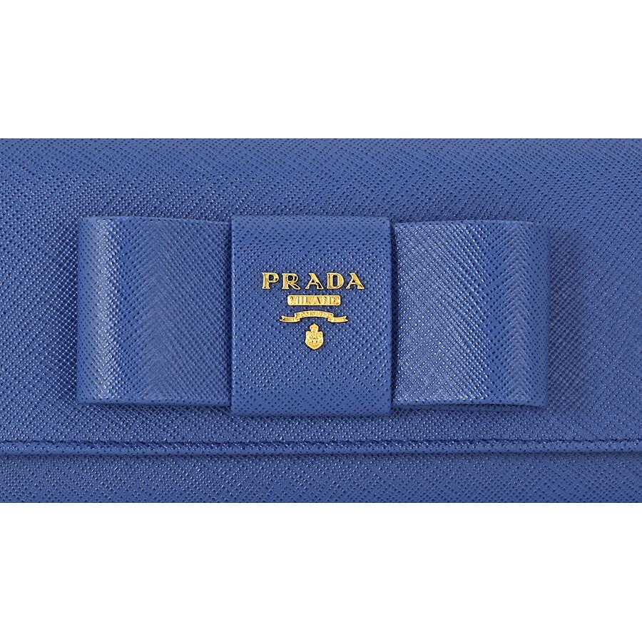 fcba6dd82ccf Prada Continental Saffiano Leather Wallet - Fiocco Azzurro - Prada ...
