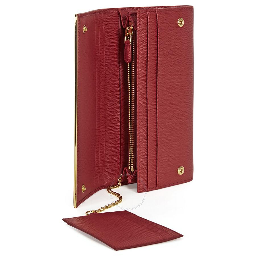 5e870a529594 Prada Continental Saffiano Leather Wallet - Fuoco - Prada - Handbags ...