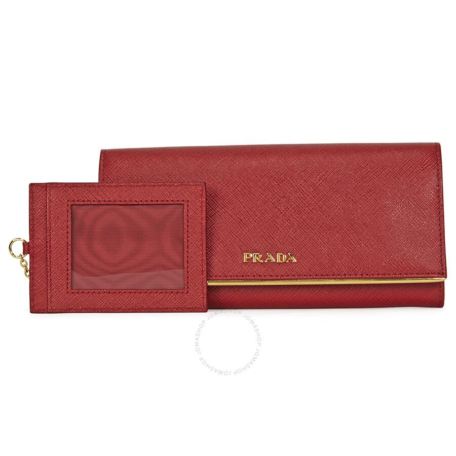 9e58f4699e68 Prada Continental Saffiano Leather Wallet - Fuoco Item No. 1MH132QMEF068Z