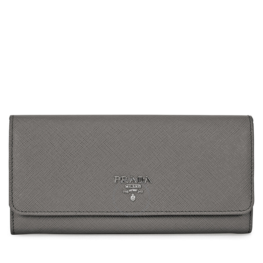 144ab0e78c Prada Continental Saffiano Leather Wallet - Marmo
