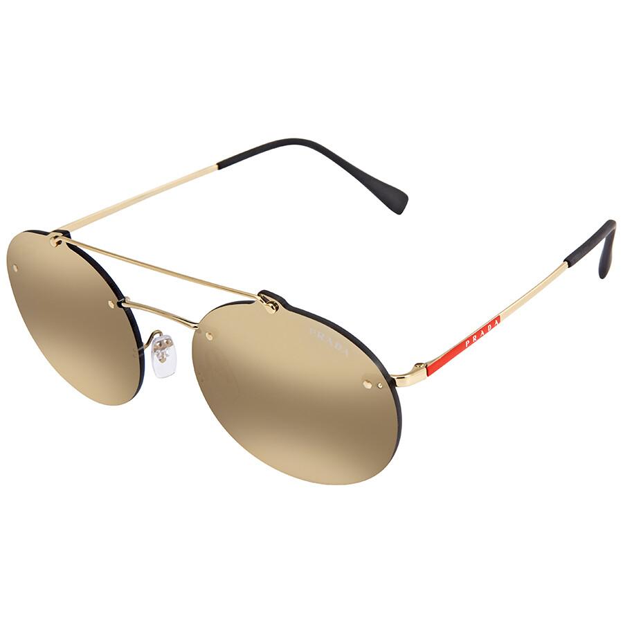 e64f1db44eb5 Prada Dark Grey Mirror Gold Oval Sunglasses PR PS56TS ZVN4L0 55 ...