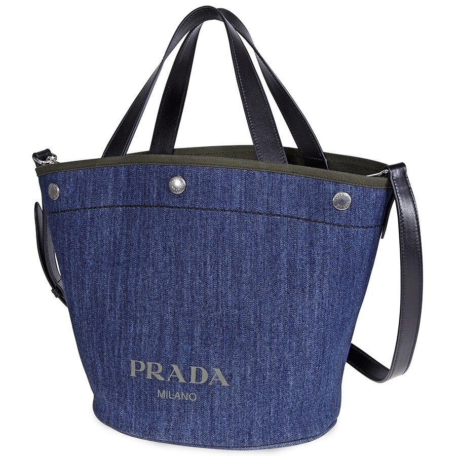 classic shoes special buy utterly stylish Prada Denim and Leather Tote Bag- Blue/Camouflage Green