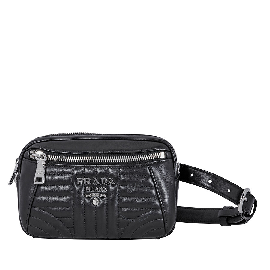 18e007a8dba033 Prada Diagramme Leather Belt Bag- Black Item No. 1BL006_2D91_F0002_V_OOI