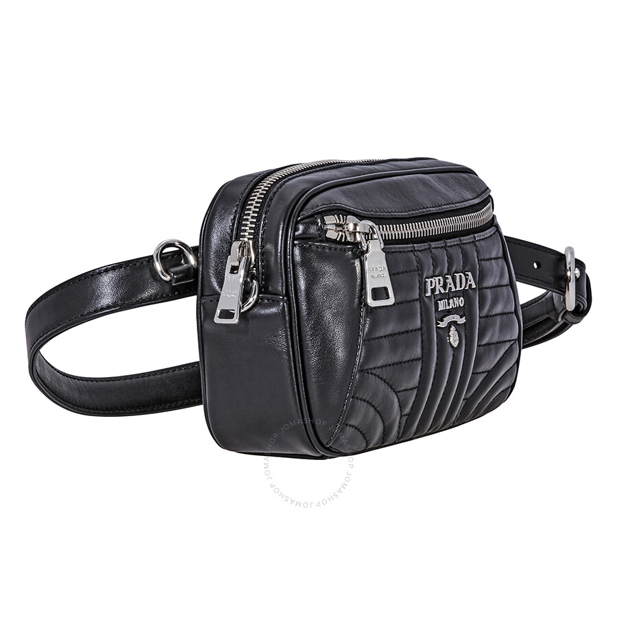 74a16b52864b9f Prada Diagramme Leather Belt Bag- Black - Prada - Handbags - Jomashop