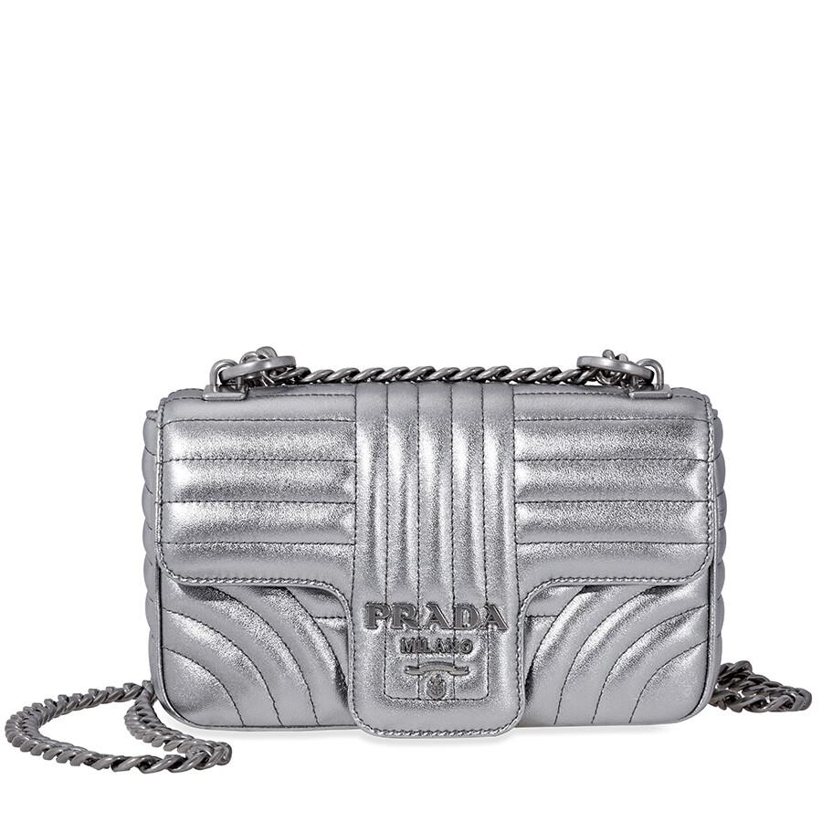 Prada Diagramme Leather Shoulder Bag-Silver Item No. 1BD107 F0135 2B0X V COI 5dd3932ff0f1f