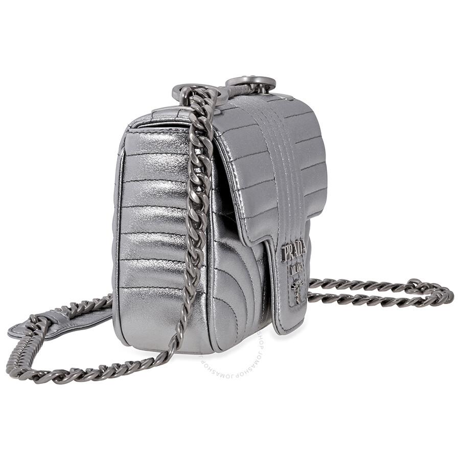 4097b412486 Prada Diagramme Leather Shoulder Bag-Silver - Prada - Handbags ...