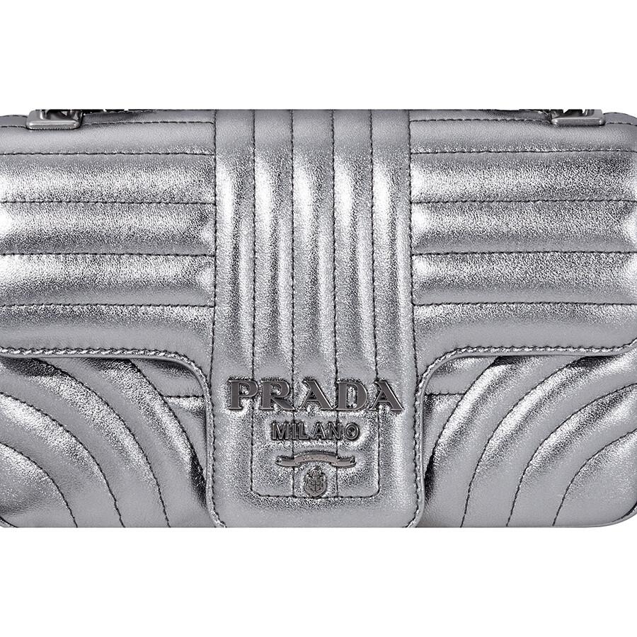 6a24bcd5c18c Prada Diagramme Leather Shoulder Bag-Silver - Prada - Handbags ...