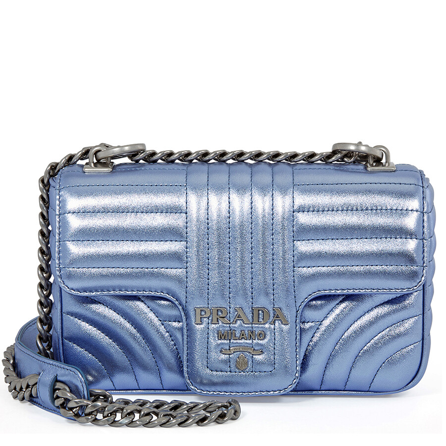 0d3d3519c2b7 Prada Diagramme Leather Shoulder Bag - Blue Metallic - Prada ...