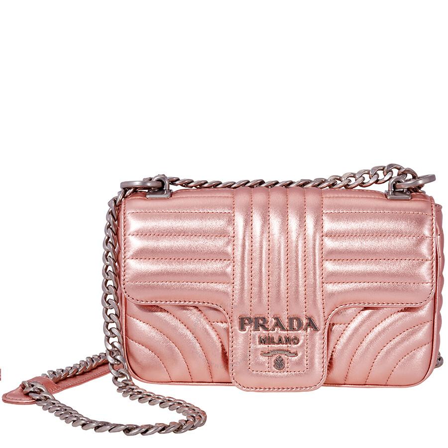 1ea11a746a6e Prada Diagramme Leather Shoulder-Pink Item No. 1BD107 F0XDS B0X V COI2