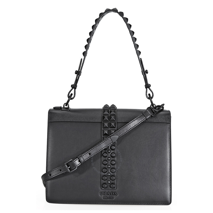 b628ac04fa9046 Prada Elektra Studded Leather Shoulder Bag- Black - Prada - Handbags ...
