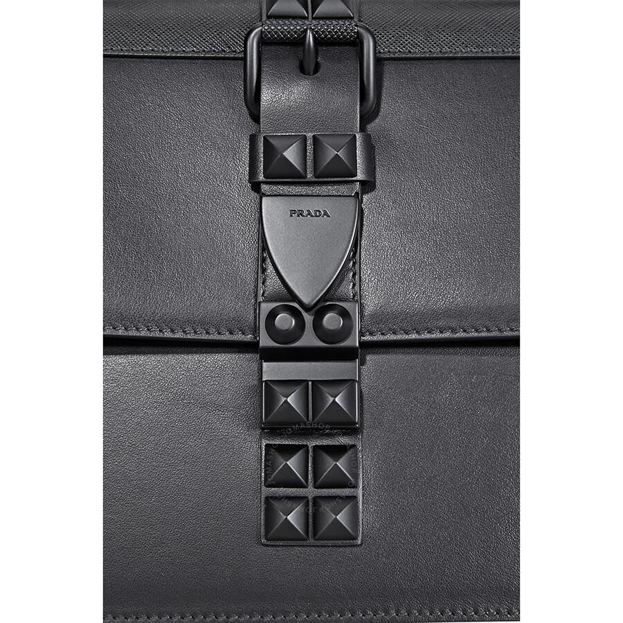 778f1d333c49 Prada Elektra Studded Leather Shoulder Bag- Black - Prada - Handbags ...