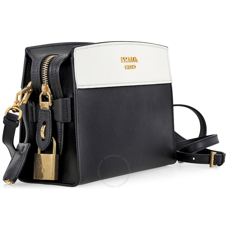 24e85f803e2b7 Prada Esplanade Shoulder Bag - Black and White - Esplanade - Prada ...