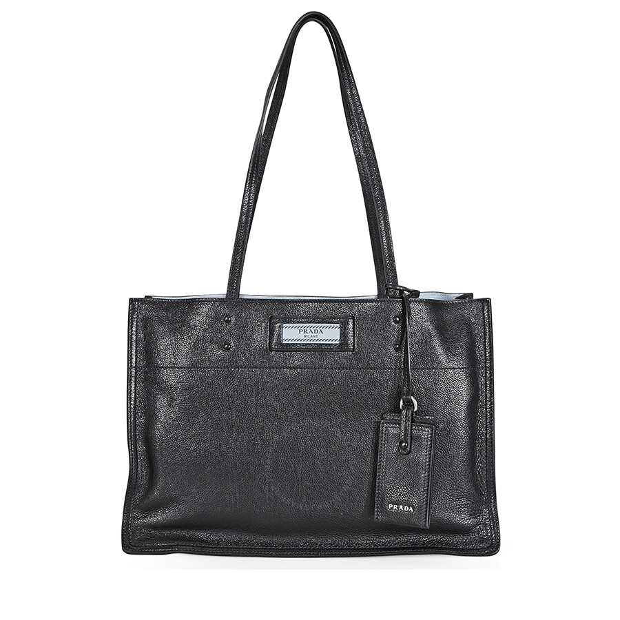1108a6ceec Prada Etiquette Medium Shoulder Bag- Black Blue Item No.  1BG122 PEO F0OK0 V OOO