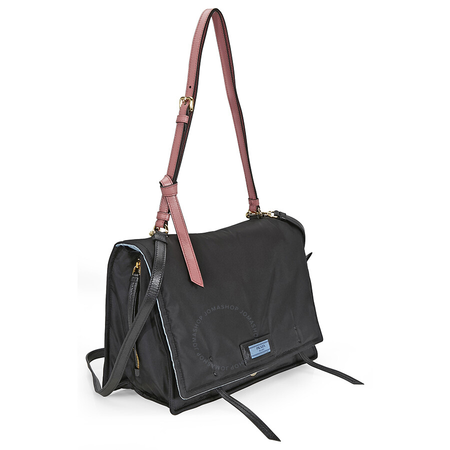 Prada Fabric Shoulder Bag - Black and Pink - Prada - Handbags - Jomashop caec95de1d