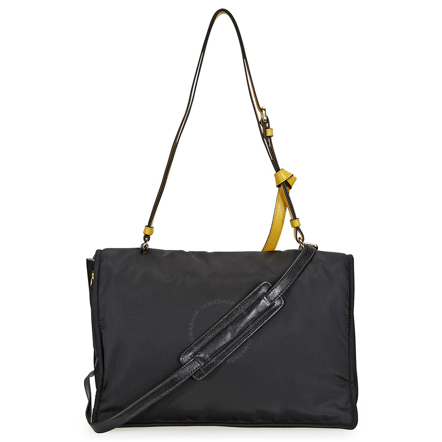 b5e05911d605 Prada Fabric Shoulder Bag - Black and Yellow - Prada - Handbags ...